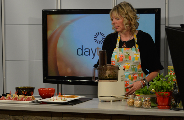 Nicole planning her 'Pesto Passion' session at Rogers Daytime TV.